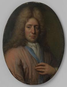 Portret van een man, mogeljk een zelfportret van Jan Verkolje I (1650-1693)