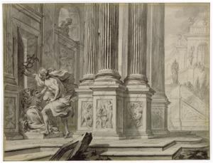 Mercurius probeert zich toegang te verschaffen tot het huis van Cecrops (Metamorfosen)