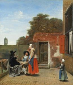Twee soldaten en een vrouw converserend op een binnenplaats
