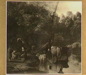 Twee herdersjongens en vee bij een drenkplaats