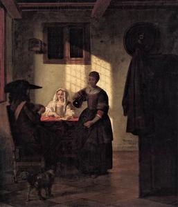 Kaartspelers en een dienstmeid in een interieur