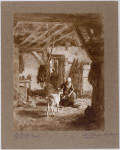 Boereninterieur met een vrouw en een geit
