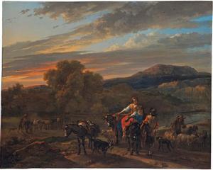 Zuidelijk landschap met herders, schapen en koeien