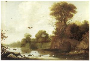Rivieroever met twee eendenkooien en tal van watervogels