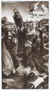 Mozes en het brandende braambos (links) (Exodus 3:2ff) ; Gideon en het wonder van de bedauwde schapenvacht (rechts) (Richteren 6:11-24)