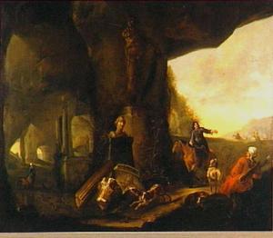 Grotingang met jagers en restanten van antieke sculpturen