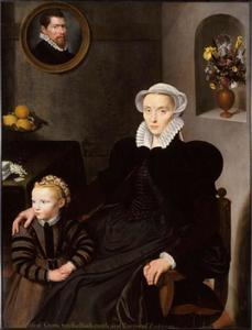 Portret van een weduwe met haar dochter