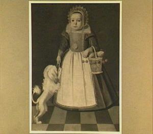 Portret van een kind met een mand vruchten en een hondje