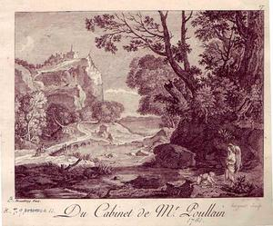 Het landschap  met de Rocca in Tivoli met Tobias die de vis vangt op aanwijzing van de engel (Tobias 4-6)