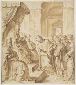 De Heilige Ignatius pleit bij paus Julius III voor de vestiging van een Jezuïtencollege te Rome