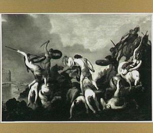 Amazone-slag aan de oevers van een rivier met Jason om het Gulden Vlies