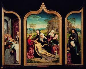 De Mis van Gregorius met Grégoire de Moscron (links), de bewening (midden), de H. Jodocus met de echtgenote Jossine (rechts)