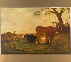 Landschap met koeien tijdens melktijd