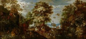 Orpheus betovert de dieren met zijn muziek