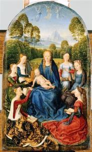 Diptiek van Jan du Cellier: Maria met kind en vrouwelijke heiligen