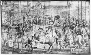 Wapenschouw in Barcelona van het leger van Karel V als voorbereiding op de verovering van Tunis