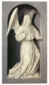 De annunciatie: de engel Gabriël (oorspronkelijk op de voorzijde: de H. Andreas)