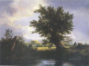 Landschap met een knotwilg aan een beekje, in de verte een kerktoren