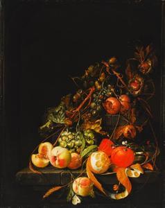 Vruchtenstilleven met een geschilde citroen en ander fruit op een stenen tafel