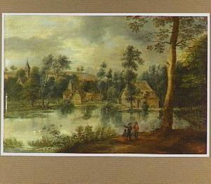 Landschap met gezicht op een dorp aan het water
