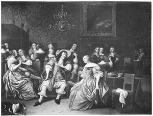Elegant converserend, drinkend en musicerend gezelschap in een interieur