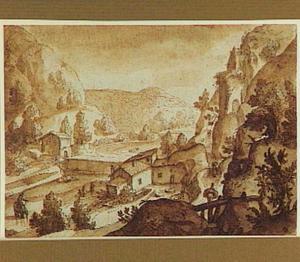 Berglandschap met watermolen aan een rivier