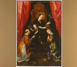 De Madonna met kind aanbeden door de HH. Laurentius en Martha