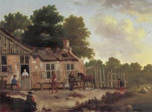 Dorpsherberg aan een landweg met enkele passanten