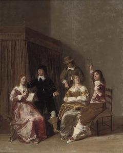 Elegant zingend en drinkend gezelschap in een interieur