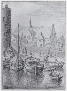 Stadsmuur van Utrecht met de kerk van de Duitse Orde