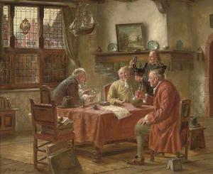 Rokend en drinkend gezelschap van oude mannen converserend aan een tafel