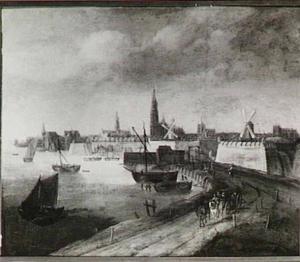 Gezicht op Antwerpen vanuit het zuidwesten