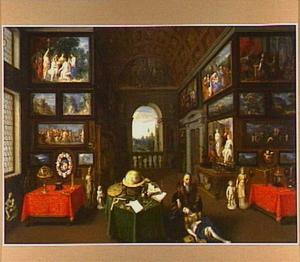 Het interieur van de schilderijenverzameling van Peter Linder in Milaan met de personifacties van Pictura en Disegno
