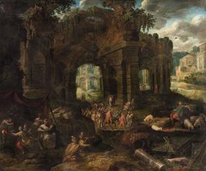 Romaans landschap met ruïnes en een carnavalprocessie