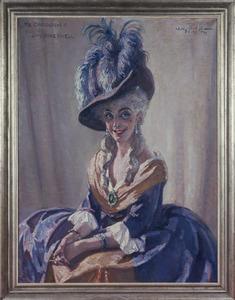 Portret van Fie Carelsen (1890-1975) als Lady Sneerwell
