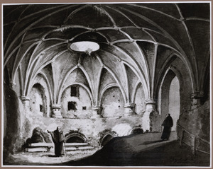 Interieur van het voormalige kasteel Vredenburg te Utrecht: het zuidwestelijke bastion gezien uit het noordoosten