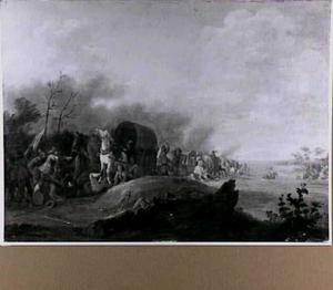 Soldaten overvallen een konvooi bij een rivier