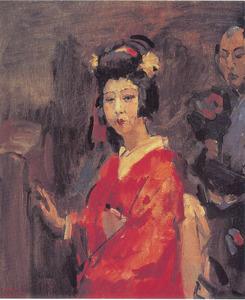 Japanse dame in rode kimono