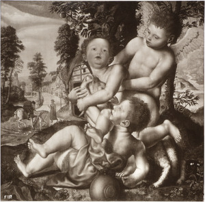Christus en Johannes de Doper als kinderen, spelend met een lam en een engel