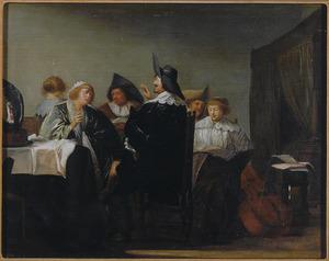 Galant musicerend gezelschap in een interieur