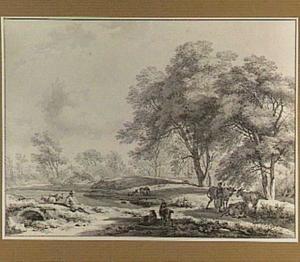 Boomrijk landschap met herders en vee bij een vijver