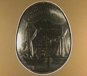 Begrafenisschild van het viskopersgilde met voorstelling van een vissersbootje aan een kade