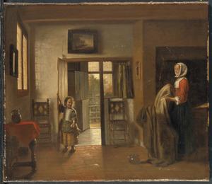 Jonge vrouw en meisje in interieur