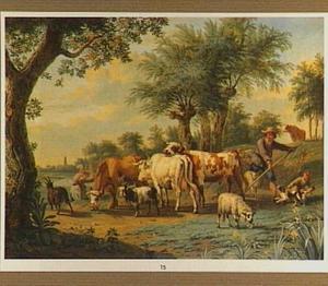 Landschap met veedrijver en een jongetje met hond