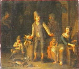 Interieur waarin boerenfamilie met dood wild en gevogelte