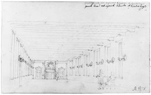 Interieur van de grote zaal van het Stadsambachtskinderhuis in het voormalige Agnietenklooster te Utrecht