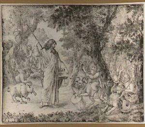 Demagorgon of Chaos, vader van alle goden, met links de slang die in zijn staart bijt