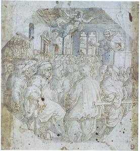 De toespraak van Antonio Giacomini in de Sala del Consiglio in Palazzo Vecchio te Florence