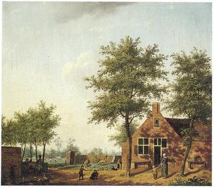 Landschap met rustende figuren voor een boerderij