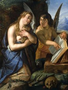 De boetvaardige Maria Magdalena met een engel